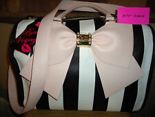 BETSEY JOHNSON STRIPE BIG PINK BOW DUFFEL WEEKENDER CARRY ON TRAVEL BAG RARE NWT