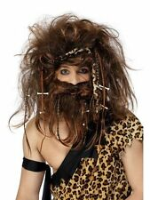 Deluxe Mens Cave Man Brown Wig & Beard Set Fancy Dress Flintstones Fred Caveman