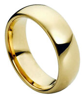 Tungsten Ring Men Women Wedding Band Gold Plated Domed Shiny Comfort Fit 5mm