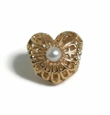 "Authentic Pandora 14K gold openwork ""Vintage heart"" white pearl charm 750822P"