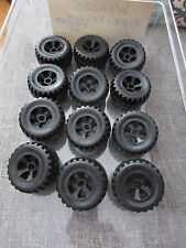 "Meccano Erector Set 12 Wheels Black 1 3/4"" approx England More Available"