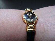 Black Hills Goldtone Black Leather Cuff Watch