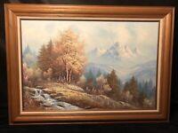 Vintage Framed Lg Original Rich Painting  Landscape Forest creek MOUNTAINS