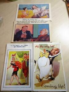 FOUR VINTAGE 1940's SAUCY SEASIDE HUMOUR POSTCARDS - 2 by Bamforths, brown stamp