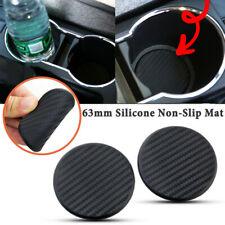 2X Car Water Cup Slot Mat Non-Slip Carbon Fiber Look Pad Auto Accessories Black