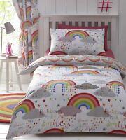 Girls Childrens Rainbows Multicolour Reversible Duvet Cover Bedding Set Curtains