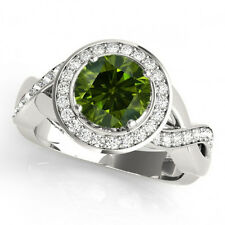 1 Carat Green Diamond Solitaire Fancy Halo Bridal Ring 14k White Gold Sparkling
