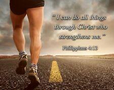 Running Marathon Posters Art Print Inspirational Wall Decor Philippians 4:13