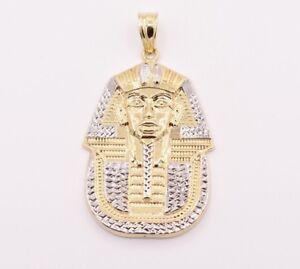 "2.5"" Pharaoh Egyptian King Diamond Cut Pendant Real 10K Yellow White Gold"