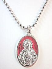 """Sacred Heart w/ Red Enamel /OLO Mt Carmel Scapular Medal Pendant 24"""" Ball Chain"""