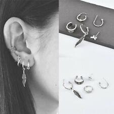 5PCS Vintage Boho Fashion Women Cross Leaf Earrings Set Jewelry Ear Stud Clip