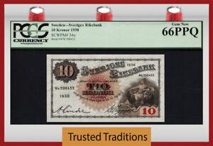 TT PK 34u 1938 SWEDEN SVERIGES RIKSBANK 10 KRONOR PCGS 66 PPQ GEM NEW!