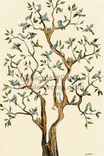4x6 archival signed PRINT - The Bird Tree - cats, pets, animals, blue birds