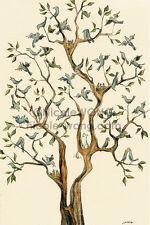 4x6 archival signed PRINT - The Bird Tree - cats, pets, animals, blue birds