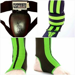 Muay Thai Boxers Steel CUP Elastic waist  XL Groin +2 Green ANKLE +2 Hand wraps
