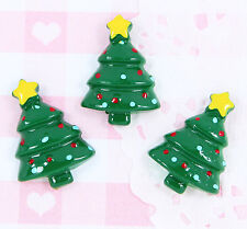 6 x Cute Christmas Tree Flatback Cabochon Embellishment Kawaii Craft Supplies