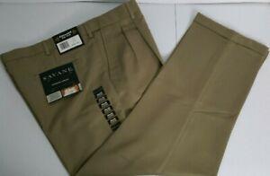 New NWT Savane Expandable Khaki Pleated Casual / Dress Pants Size 40 X 29 G172