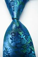 New Classic Floral Sea Blue Green JACQUARD WOVEN 100% Silk Men's Tie Necktie