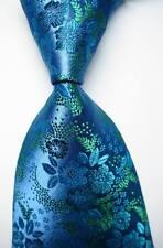 New Classic Floral Sea Blue Green JACQUARD WOVEN 100% Silk Men's Tie Necktie