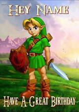 Zelda Link Personalizado De Cumpleaños Tarjeta-cualquier nombre edad relación