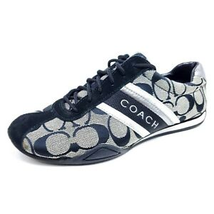 Coach Jayme Womens Size 6 Shoes Black Gray Lace Up Signature Sneaker