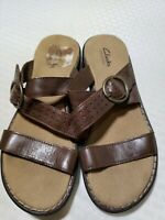 Clarks Bendables Sandals Slides Brown Buckle Slip On  Leather Womens Size 7 M