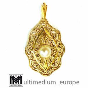 585 Art Deco Gold Anhänger Perle filigran filigree pendant pearl 14ct 🌺🌺🌺🌺🌺