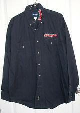 Wrangler Button Up Shirt Large Navy Blue & Red Embroidered Long Sleeve Cotton