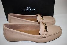 NIB COACH Size 9 Women's Beechwood 100% Pebble Grain Leather OLIVE Flat Loafer