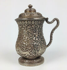 More details for antique indian kutch silver lidded tankard- hunting animals - oomersee mawjee ??