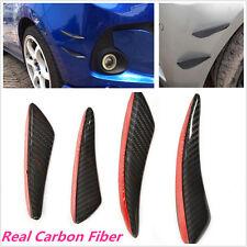 4X Car Auto C Style Front Bumper Real Carbon Fiber Fins Lip Kit Canards Splitter