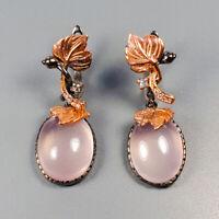 Fine art Jewelry Set Natural Rose Quartz 925 Sterling Silver Earrings /E37809