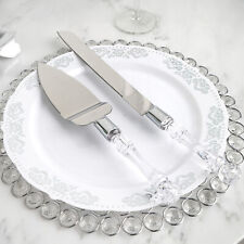 Silver Clear Knife and Server Crystal Handles Cake Serving Set Wedding Supplies