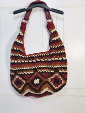 The Sak Crochet Shoulder Bag Purse Afghan Boho Multicolor NWOT