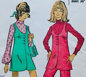 Vintage 1960's MICRO MINI DRESS / TROUSERS Sewing Pattern Size 14 (LR9036)