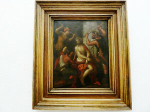 "(G7871) Antik Bild Gemälde Oel auf Holz,"" Das Leiden Christi "" 17.Jh, 32 x 25cm"