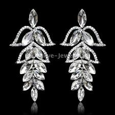 Luxury Leaf Design Crystal Bridal Silver Long Drop Earrings Wedding Accessories