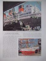 ARTICLE DE PRESSE 1935 LE HAVRE ET SES NAVIRES PAQUEBOT ILE DE FRANCE CARGOS