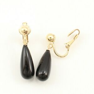 Raindrop Black Onyx Non-Pierced Clip Earrings TPJ
