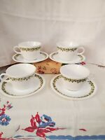 4 Vintage Corelle Livingware Spring Blossom Crazy Daisy Cups and Saucers