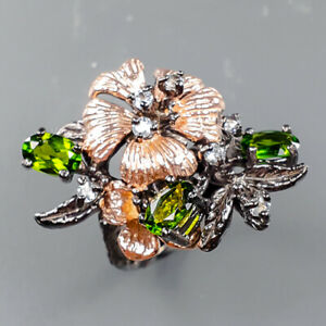 Fine Art Jewelry Chrome Diopside Ring Silver 925 Sterling  Size 6.5 /R163974
