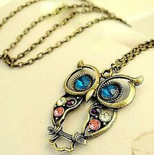 vintage style cut out bronze owl w/ crystal necklace