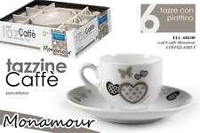 SET 6 TAZZINE CAFFE' IN PORCELLANA PIATTINO TONDO DECORO MONAMOUR  ELI-684180