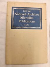 List of National Archives Microfilm Publications 1961