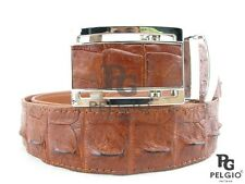 "PELGIO Genuine Crocodile Skin Belt 46"" Alligator Backbone Leather Tan Brown New"