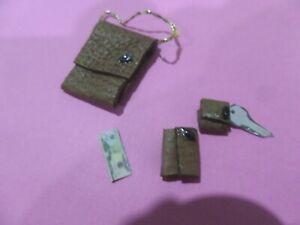 Elegant Brown Leather Handbag wallet key case Dollhouse Miniatures 1:12