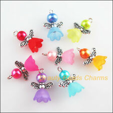 8Pcs Mixed Glass Acrylic Dancing Angel Wings Flowers Charms Pendants 14x19mm