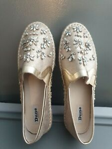 DUNE SHOES ESPADRILLES GOLD SIZE 41 Or 8