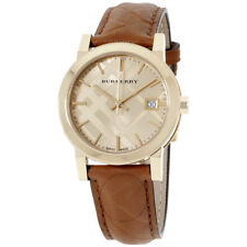 Burberry Ladies Watch Leather Strap Gold-Tone Dial Ladies Watch BU9153