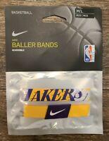 Nike NBA Los Angeles Lakers Reversible Baller Bands One Pair Size M/L Kobe